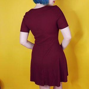 Dresses - Burgundy Ribbed Skater Dress